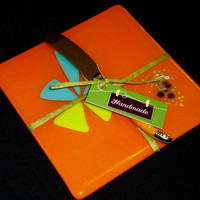 Orange Glass Cheese Board with Stainless Steel Knife