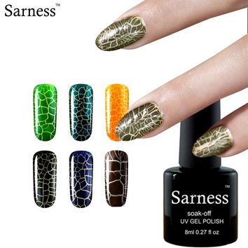 sarness LED UV Cracking Nail Gel Polish Crackle gel Varnish Crack Pattern Need top Base coat Color Soak Off Nail Gel Lacquer