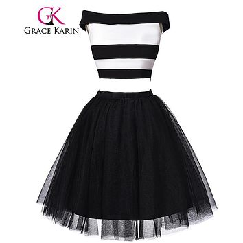 Grace Karin Real Picture Cocktail Dress Black White Stripe Short Robe De Cocktail 2 Piece Sexy Party Gown Formal Prom Dress 2017