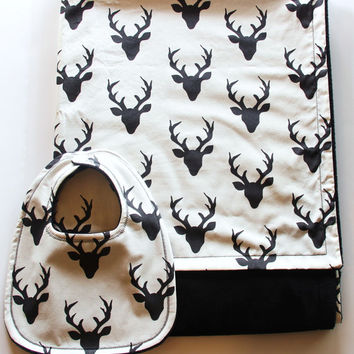 Deer Baby Blanket and Bib Gift Set, Buck Forest Blanket, Cream Baby Blanket, Cream and Black Minky Blanket With Bib