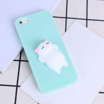 SQUISHY ADHD RELAX 3D SOFT SILICONE CUTE ANIMALS TPU PHONE CASE COVER FOR IPHONE