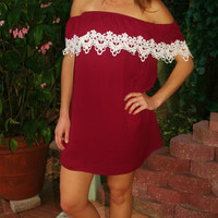 Garnet & Ivory Lace Game Day Dress
