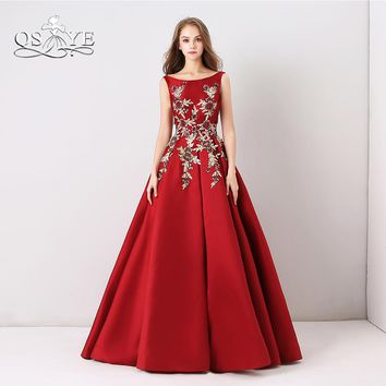 QSYYE 2018 New Long Prom Dresses Robe de Soiree Elegant Boat Neck 3D Floral Flower Lace Satin Formal Evening Dress Party Gown