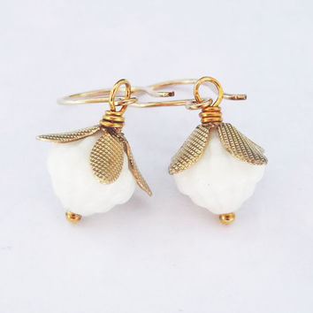 White Vintage Glass Bead Earrings in 14K Gold Fill, Brass Flower Bead Caps, White and Gold Earrings