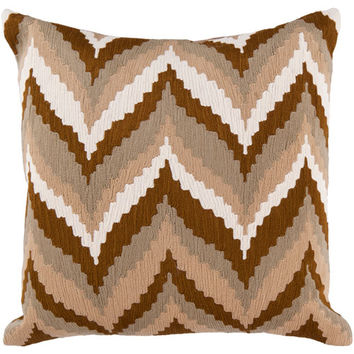 Surya Rugs AR058-2222P 22-Inch Square Golden Brown, Safari Tan, Caper Green, and Papyrus Striped Cotton Pillow Cover with Poly Insert