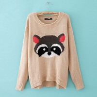 New Women's Crew Neck Bear pattern Loose sweater WF-4969