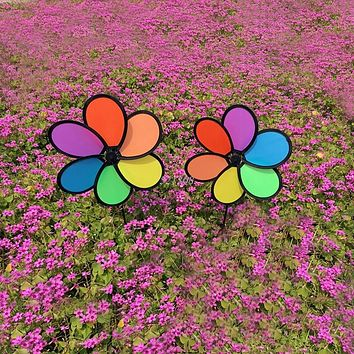 Colorful Rainbow Flower Spinner Wind Windmill Garden Yard Outdoor Decor