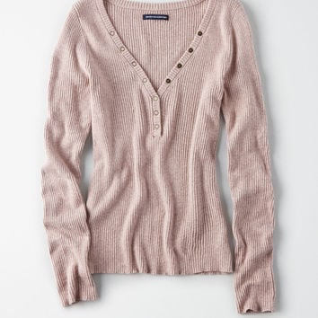 AE Ribbed Snap Henley Pullover, Mauve