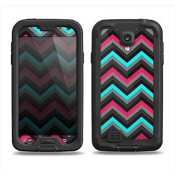 The Sharp Pink & Teal Chevron Pattern Samsung Galaxy S4 LifeProof Fre Case Skin Set