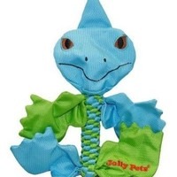 Jolly Pets Flathead Iguana Dog Tug Squeak Toy Sz: Lg