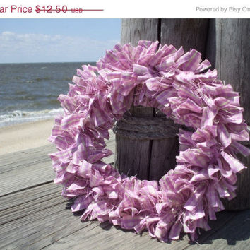 cij 25% Lilac and Lime Rag Wreath Homespun Quilt Fabric Purple Green Small size Spring Wreath christmasinjuly CIJ