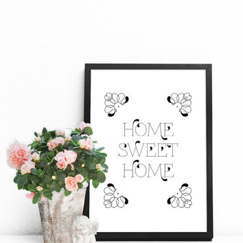 Printable wall art, Large wall decor, Modern posters, Black and white poster, Large artwork, Home Sweet Home sign, Word poster, Word artwork