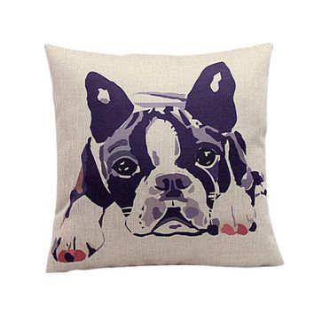 Bulldog Pattern Sofa Bed Home Decor Pillow Case Cushion Cover