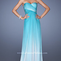 Strapless Long Chiffon Dress by La Femme