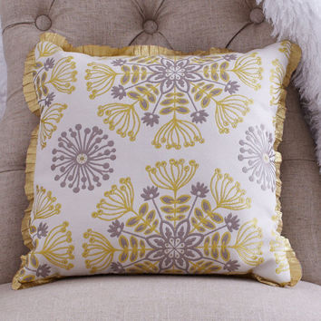 Decorative Throw Pillow with Golden Sunbursts of Cream and Grey Tapestry - Trimmed with Gold Ruffle, Vintage Inspired and Midcentury Chic