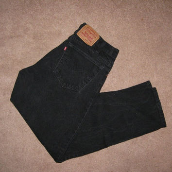 Vintage 80s Black Levi's 550 Jeans / Men / Women / 33 x 29 / Levis Red Tab Jeans
