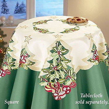 Tree Embroidered Holly Table Square