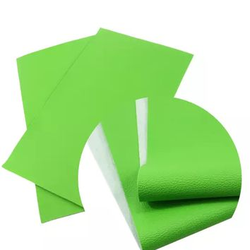 Lime green textured solid faux leather fabric sheet