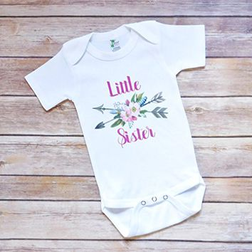 Little Sister Bodysuit - 3 to 6 Months - Boho Feathers, Flowers, and Arrows - Baby Shower Present