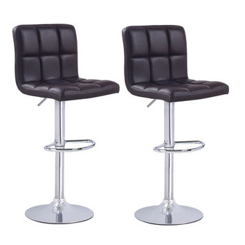 Brown Leatherette Faux Tufted Adjustable Bar Stools (Set of two)