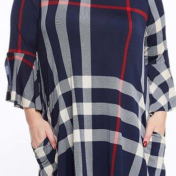 Plaid Unfinished Split Bell Sleeve Round Neck Tunic Top