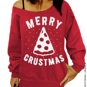 Pizza Sweatshirt, Ugly Christmas Sweater, Merry Crustmas, Slouchy Sweatshirt