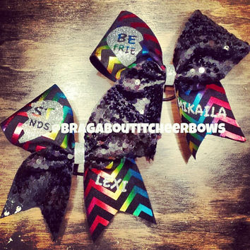 multicolor chevron and black sequins best friends cheer bows with your names