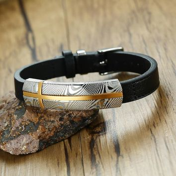 Black Leather Wrap Bracelet Men Jewelry Cross Stainless Chains Damascus Steel Punk Fashion Male Bangle Gifts