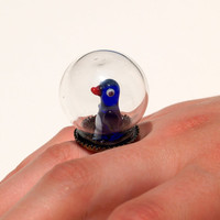 Tiny Terrarium  Penguin Ring by cansuhobi on Etsy