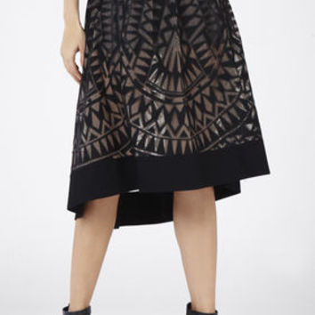 Black BCBG Keary Burnout Lace Skirt