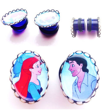 Ariel and Eric cameo little mermaid plugs gauges