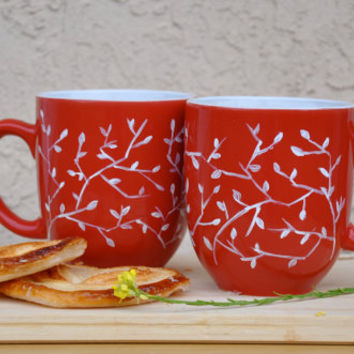 Set of Two White on Red Coffee Mugs - Hand Painted Ceramic Valentine's Day Mug Set - made to order