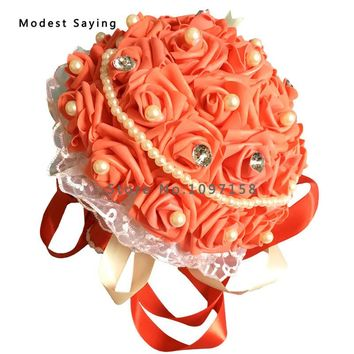 Pack with Box Red Artificial Rose Pearls Wedding Bouquets 2017 Romantic Bridal Flowers bouquets casamento Wedding Accessories P7