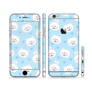The Subtle Blue & White Faced Cats Sectioned Skin Series for the Apple iPhone 6s Plus