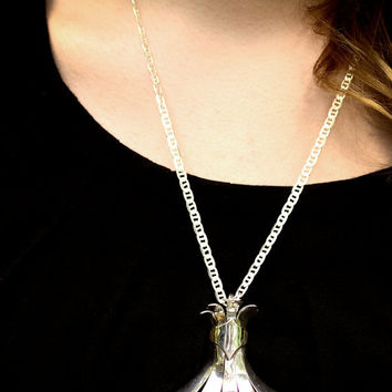Fleur de Lis Redefined Solid Silver Necklace One of a Kind