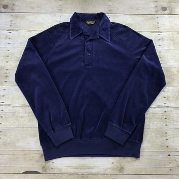 Vintage 80s Sears Sportswear Velour Navy Blue 2 Button Sweater Mens Size Small