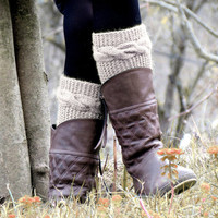 Knitted Boot Cuff  Woman  - Vanilla Short Cable Knit Boot Cuffs. Short Leg Warmers. Crochet Boot Cuffs. Vanilla Legwear