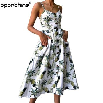 Summer Dress Strap Floral Print Dot Long Beach Vestidos Female Sundress Sexy Casual Loose Elegant Ladies Dresses