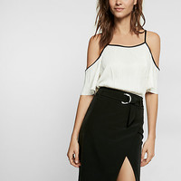 petite solid cold shoulder pleated tee