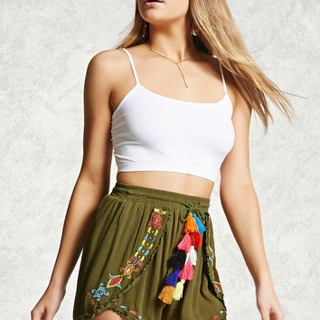 Embroidered Pom-Pom Shorts