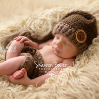 Double Chocolate Newborn Mohair Shorts Photography Prop with Matching Hat, Baby Boy Props, Newborn Photo Props, Handmade Clothing, Knit