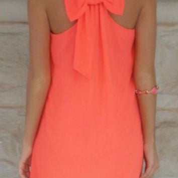 Orange Bowknot Sleeveless Chiffon Mini Dress