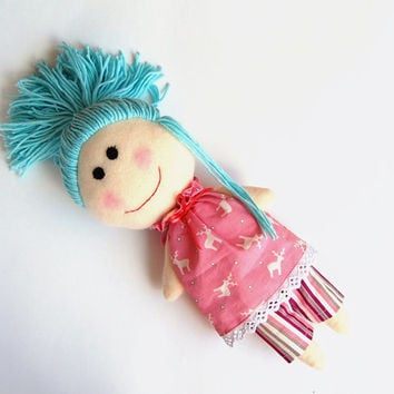 Etsy Transaction -          Reserved Christmas girl doll  toys plush rag doll gift for girl plush toy soft toy blue hair