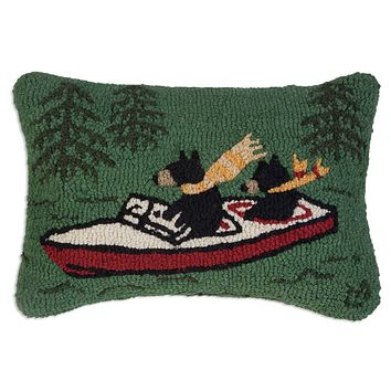 "Boating Bears Hooked Wool Pillow 14""L X 20""W"