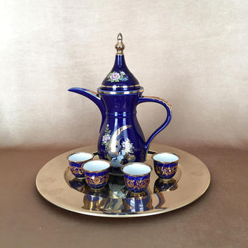 Japanese Tea Set, Sake Pot and Cups, Okumura Japan, Cobalt Blue, Gold Peacock, Ewer Style Pot, Vintage Tea Set, Asian Barware, Sake Hot Pot