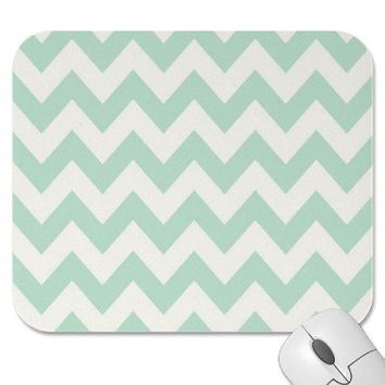 Light Green Chevron Mouse Pad from Zazzle.com