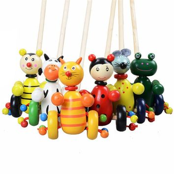 Funny Children Wooden Toys Cartoon Animals Toddler Trolley Kids Puzzle Wood Baby Christmas Toys Wooden Puzzle Toy Random Color
