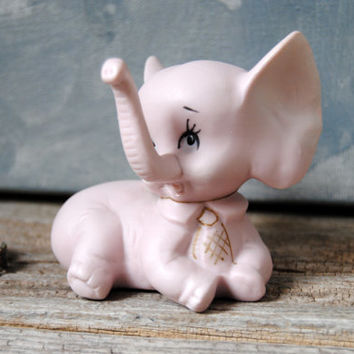 Pink Bisque Elephant Ring Holder - Vintage Porcelain Elephant Figurine 1950s Made in Japan