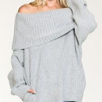 fold over off the shoulder sweater
