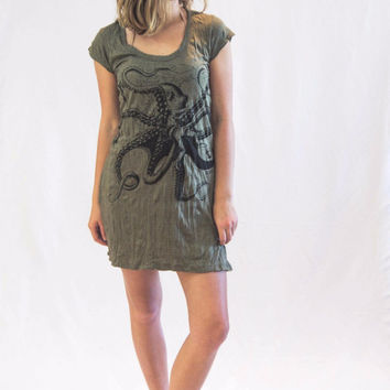 Tunic Dress Octopus Dark Green